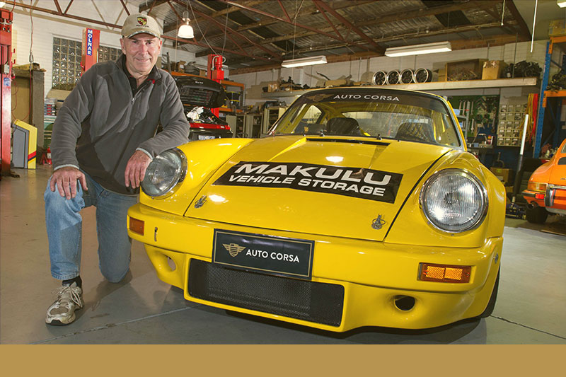 Rex Broadbent and his Porsche